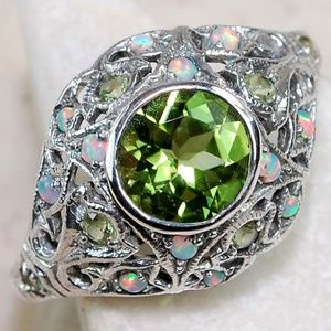 Jewelry - 1CT Natural Peridot and Opal, .925 Silver Ring 6